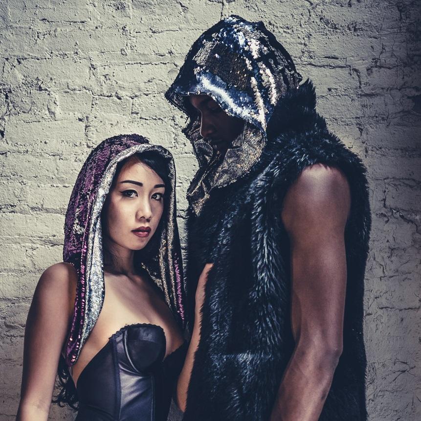 Reversible Sequin Festival Hood -Halloween Rave Burning Man Festival Costume ZZuLIr