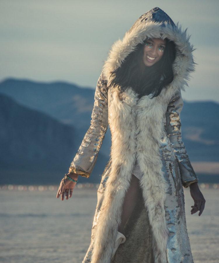 sequin faux fur goddess coat