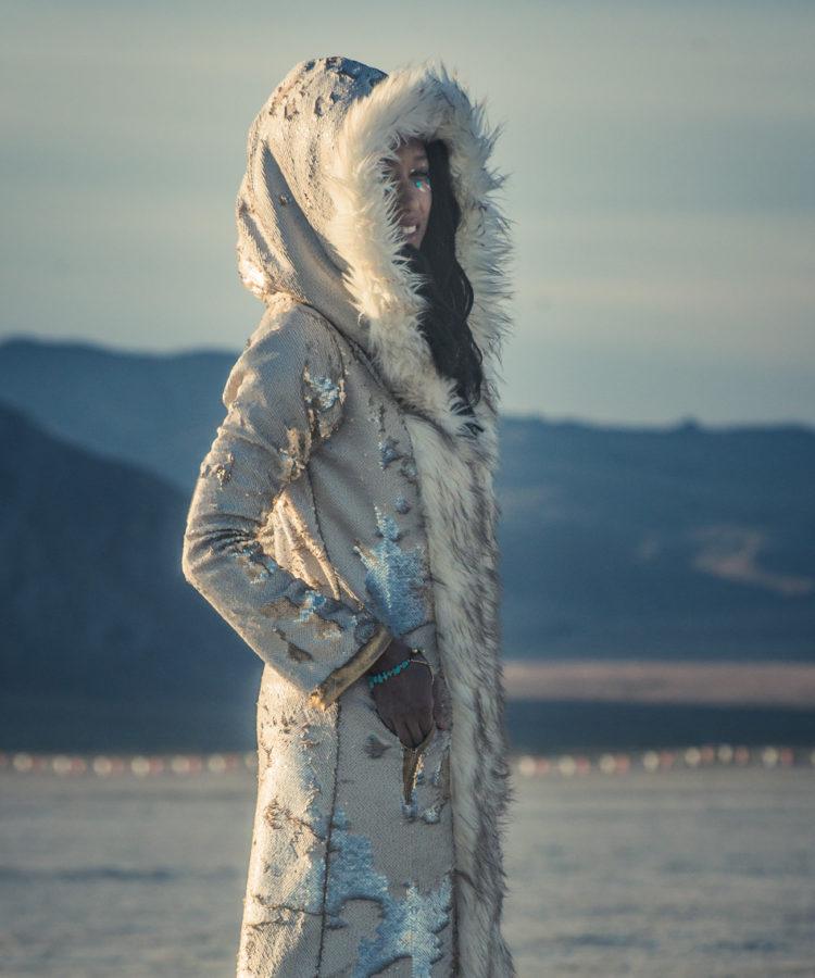 sequin faux fur playa coat