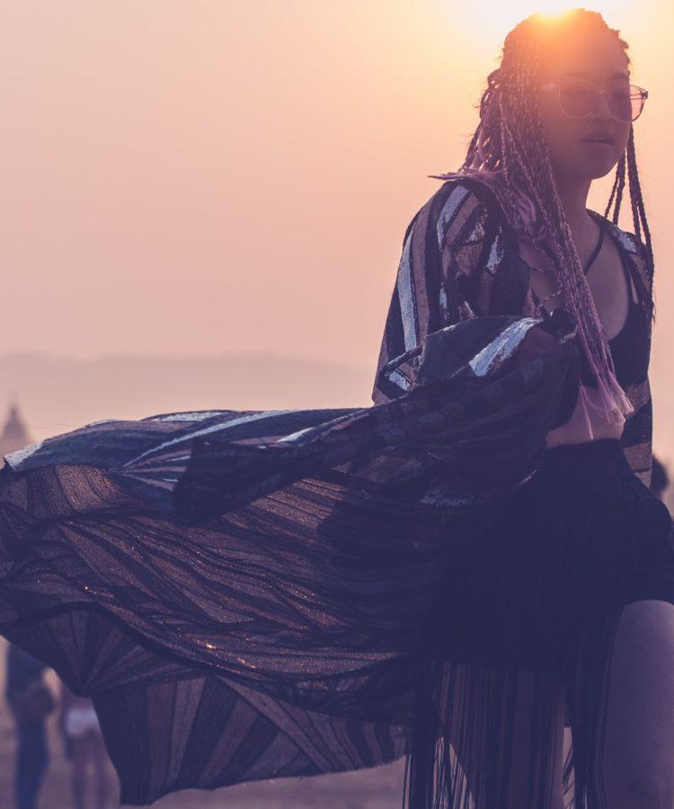 wonderfruit festival fashion goddess kimono sequin