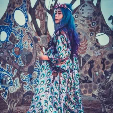 peacock sequin kimono back