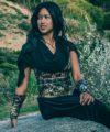 sequin cosplay dress black fantasy post apocalyptic