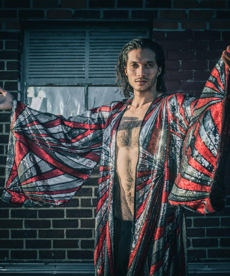 mens red black silver sequin kimono